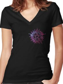 Supernatural Anti-Possession Galaxy Print Women's Fitted V-Neck T-Shirt