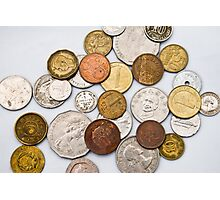 Coins of different countries on white Photographic Print