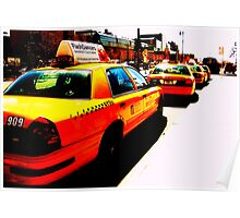 yellow cab taxi rank Poster