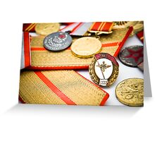 USSR army officer medals and badges Greeting Card