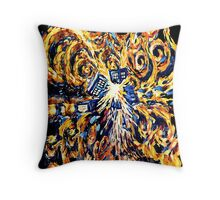 Big Bang Attack Exploded Flamed Phone booth painting Throw Pillow
