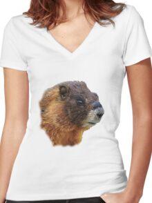 Marmot Portrait Women's Fitted V-Neck T-Shirt