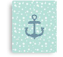 Chevron Nautical Anchor Bubbles Pattern Canvas Print