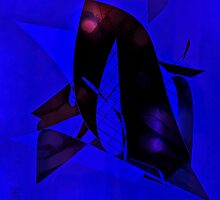 Blu-Black Abstract by Ladydi