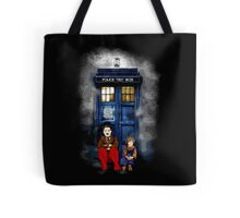 Charlie Chaplin with the kid waiting an Angel Tote Bag