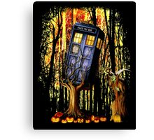 Haunted Blue Phone Box captured By witch Canvas Print