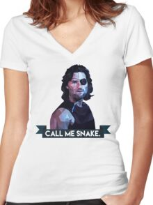 Snake Plissken Women's Fitted V-Neck T-Shirt