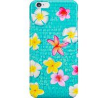 Colorful Plumerias Floating in Aqua iPhone Case/Skin