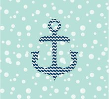Chevron Nautical Anchor Bubbles Pattern by dreamingmind