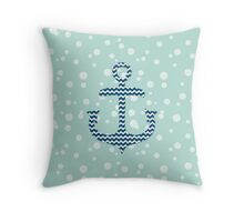 Chevron Nautical Anchor Bubbles Pattern Throw Pillow