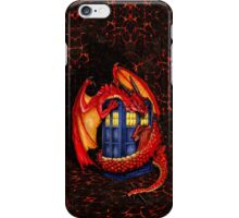 Blue phone box with Smaug The Red wyvern dragon iPhone Case/Skin