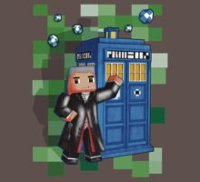 8bit 12th Doctor with blue phone box One Piece - Short Sleeve