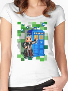 8bit 12th Doctor with blue phone box Women's Fitted Scoop T-Shirt