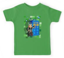 8bit 12th Doctor with blue phone box Kids Tee