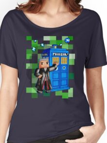 8bit 12th Doctor with blue phone box Women's Relaxed Fit T-Shirt