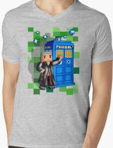 8bit 12th Doctor with blue phone box Mens V-Neck T-Shirt