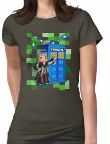 8bit 12th Doctor with blue phone box Womens Fitted T-Shirt