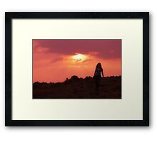 Walking at Sunset Framed Print