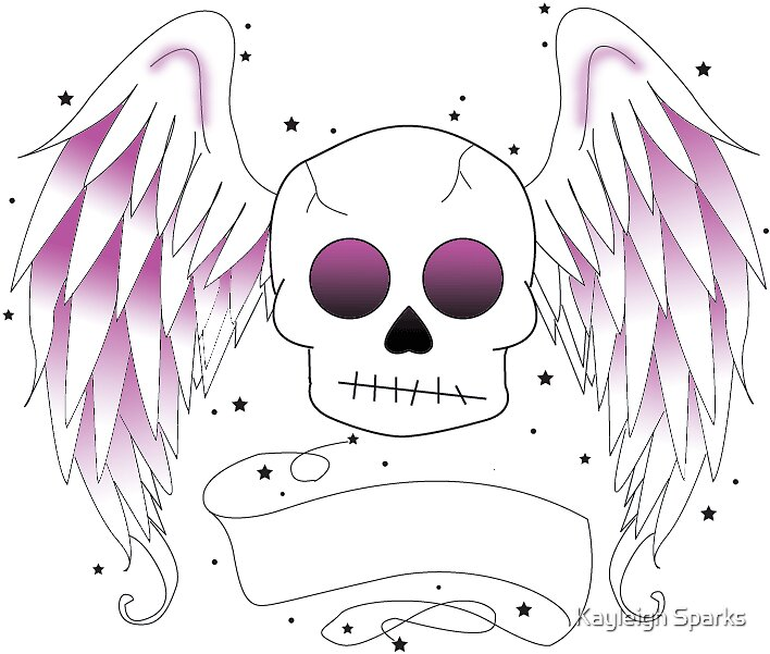 Skull with angel wings by Kayleigh Sparks