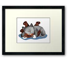 Teddy Bear Pillow for Gray Kitten Framed Print