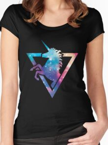 Galaxy Unicorn  Women's Fitted Scoop T-Shirt