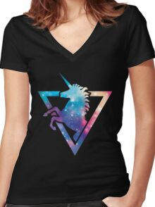 Galaxy Unicorn  Women's Fitted V-Neck T-Shirt