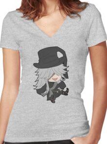 Black Butler Undertaker chibi Women's Fitted V-Neck T-Shirt