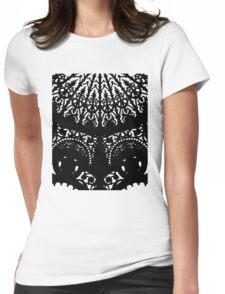 Decorative Black Print Womens Fitted T-Shirt