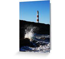 Tarbat Ness Lighthouse Wave Crash Greeting Card
