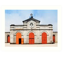Church and bicycle Art Print
