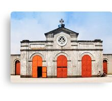 Church and bicycle Canvas Print