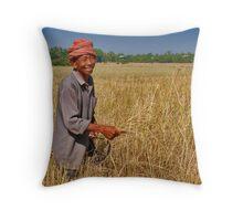 Rice Farmer Throw Pillow