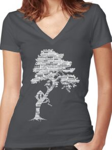The Bodhi Tree of Awareness (White Version) Women's Fitted V-Neck T-Shirt