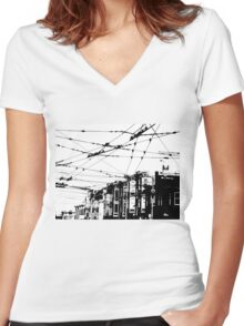 SF Grid Women's Fitted V-Neck T-Shirt