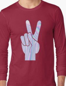 Holographic Peace Hand Long Sleeve T-Shirt