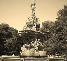 fountain in sepia by gemma angus