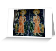 Hand painted  Tiles..  a pair of saints. Greeting Card