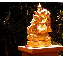 Stone statue in Murni's Warung, Ubud, Bali Photographic Print