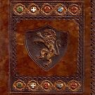 Hand-Tooled Leather Medieval Book Cover by Larry Oates