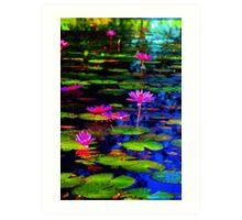 Watercolour Waterlillies Art Print