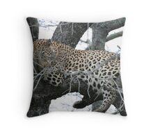 Leopard lounging Throw Pillow