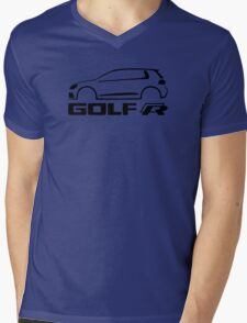 VW Golf R silhouette Black Mens V-Neck T-Shirt