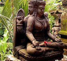 Stone statue of Brahma in Murni's Warung, Ubud, Bali by JonathaninBali