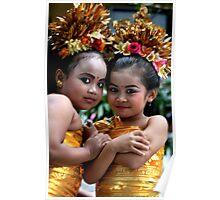 2 Dancing  Girls in Campuan, Bali Poster