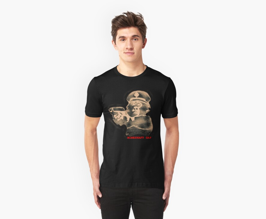 monkey with a gun - black t by Pete McConvill
