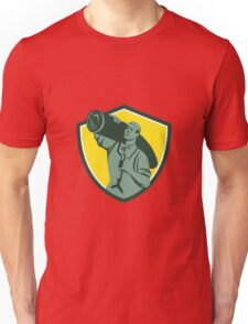 Carpet Layer Knee Kicker Crest Retro Unisex T-Shirt