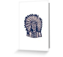 Native American Indian Chief Warrior Etching Greeting Card