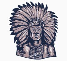 Native American Indian Chief Warrior Etching by patrimonio