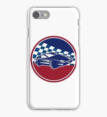 Sports Car Racing Chequered Flag Circle Retro iPhone Case/Skin