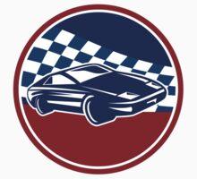 Sports Car Racing Chequered Flag Circle Retro by patrimonio